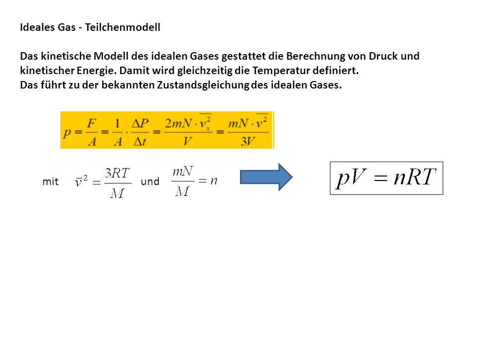 Ideales Gas - Teilchenmodell Das kinetische Modell des idealen Gases gestattet die Berechnung von Druck und kinetischer Energie. Damit wird gleichzeit