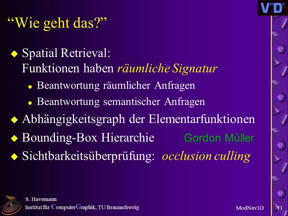 Institut für C omputer G raphik, TU Braunschweig ModNav3D S. Havemann 10 Die Viewer-Architektur Generatives Modell Progressives Netz Subdivision Surfa