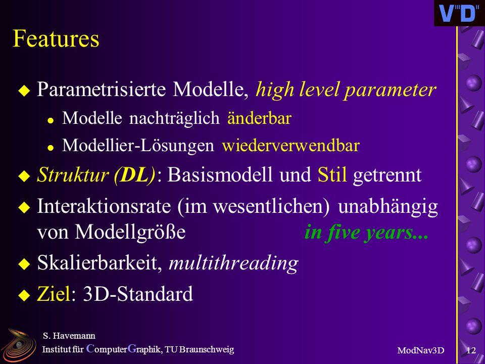 """Institut für C omputer G raphik, TU Braunschweig ModNav3D S. Havemann 11 """"Wie geht das?"""" u Spatial Retrieval: Funktionen haben räumliche Signatur l Be"""