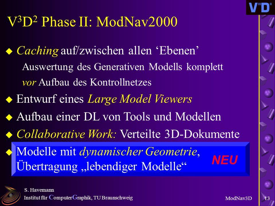 Institut für C omputer G raphik, TU Braunschweig ModNav3D S. Havemann 12 Features u Parametrisierte Modelle, high level parameter l Modelle nachträgli