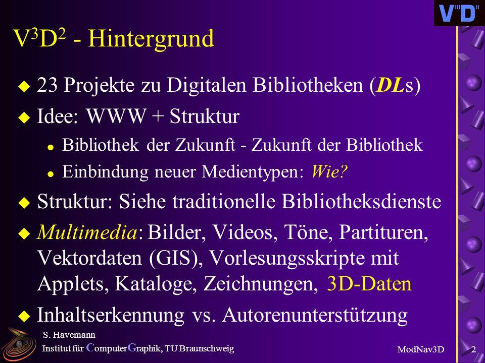 Institut für C omputer G raphik, TU Braunschweig ModNav3D S. Havemann 1 Effizienter Austausch von 3D- Dokumenten auf Basis von Generativer Modellierun