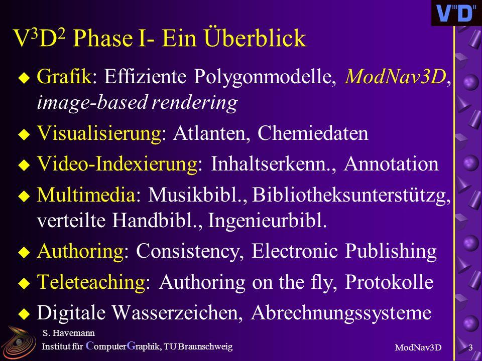 Institut für C omputer G raphik, TU Braunschweig ModNav3D S. Havemann 2 V 3 D 2 - Hintergrund u 23 Projekte zu Digitalen Bibliotheken (DLs) u Idee: WW