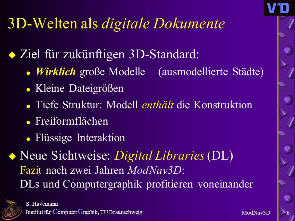 Institut für C omputer G raphik, TU Braunschweig ModNav3D S. Havemann 5 Dreidimensionale Dokumente u Problem: Fehlender allgemeiner DL-Standard u VRML