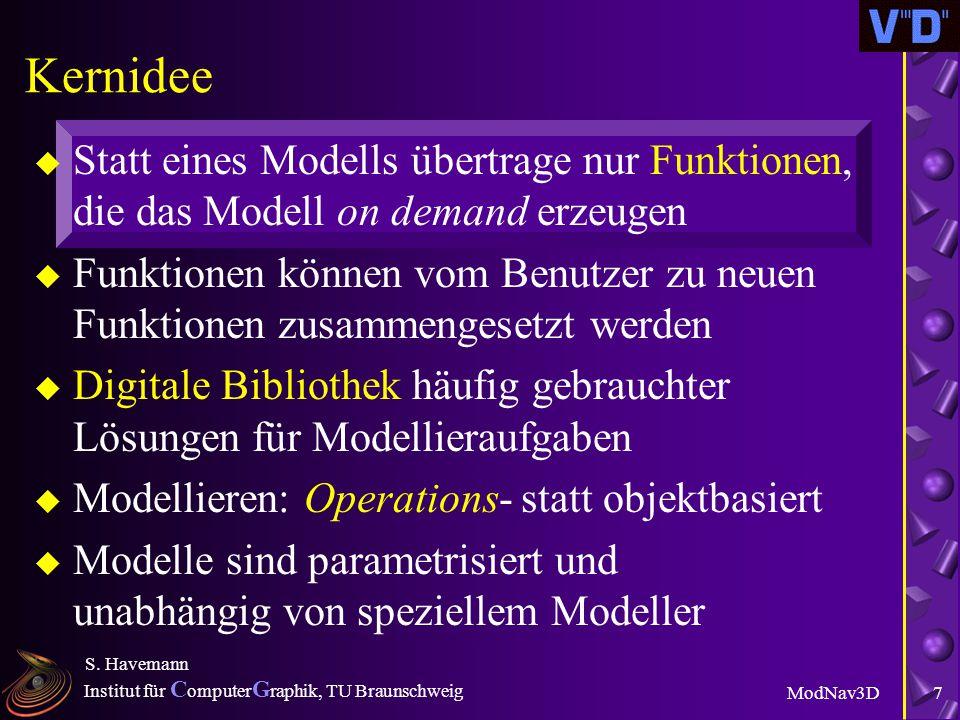 Institut für C omputer G raphik, TU Braunschweig ModNav3D S. Havemann 6 3D-Welten als digitale Dokumente u Ziel für zukünftigen 3D-Standard: l Wirklic