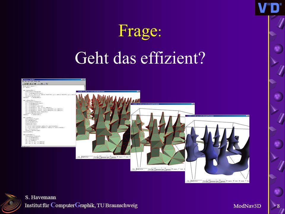 Institut für C omputer G raphik, TU Braunschweig ModNav3D S. Havemann 7 Kernidee u Statt eines Modells übertrage nur Funktionen, die das Modell on dem