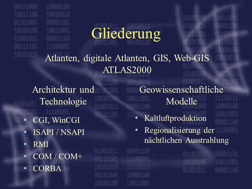 Gliederung CGI, WinCGI ISAPI / NSAPI RMI COM / COM+ CORBA Kaltluftproduktion Regionalisierung der nächtlichen Ausstrahlung Atlanten, digitale Atlanten, GIS, Web-GIS ATLAS2000 Architektur und Technologie Geowissenschaftliche Modelle