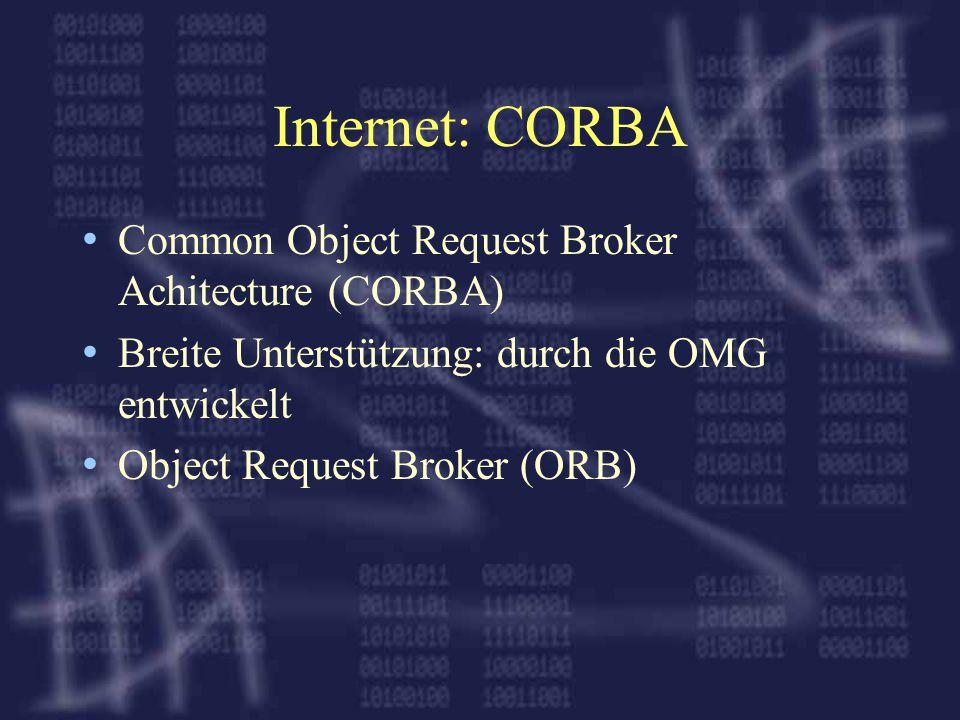 Internet: CORBA Common Object Request Broker Achitecture (CORBA) Breite Unterstützung: durch die OMG entwickelt Object Request Broker (ORB)