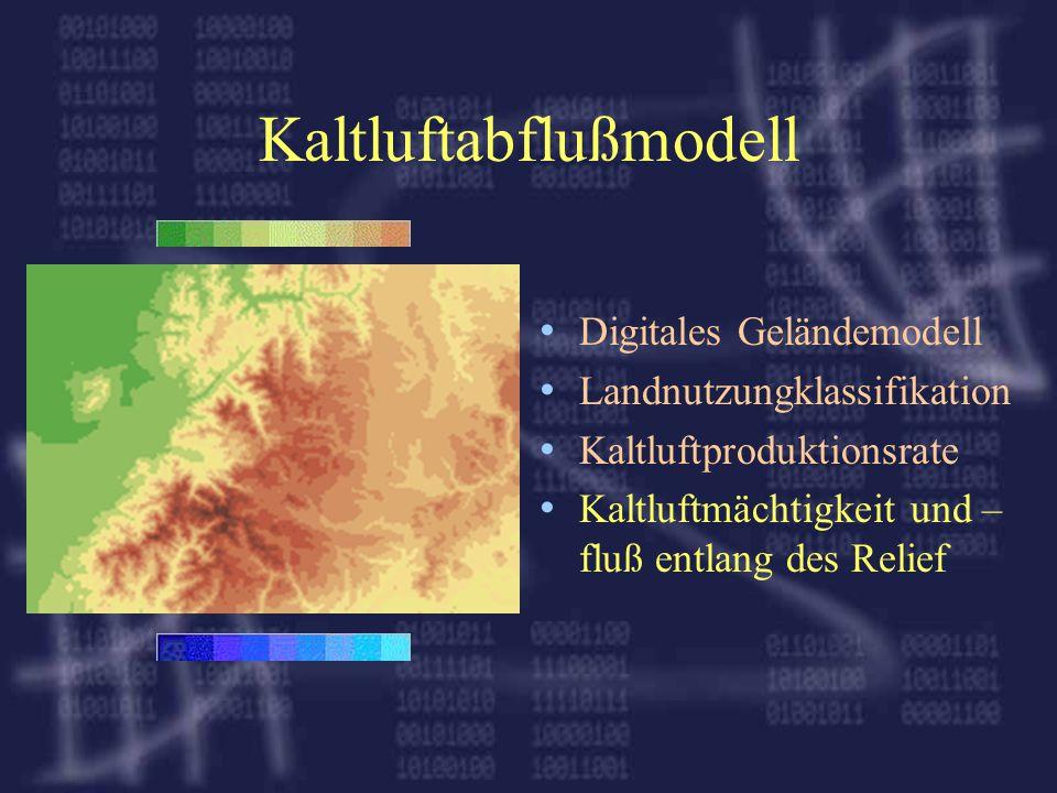 Kaltluftabflußmodell Digitales Geländemodell Landnutzungklassifikation Kaltluftproduktionsrate Kaltluftmächtigkeit und – fluß entlang des Relief