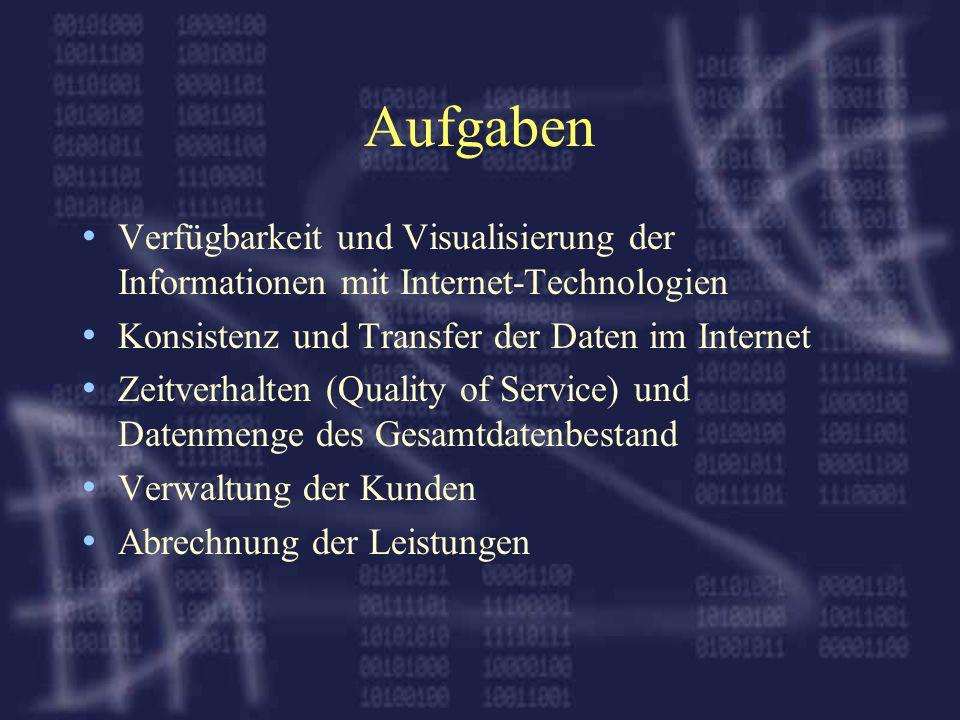 Aufgaben Verfügbarkeit und Visualisierung der Informationen mit Internet-Technologien Konsistenz und Transfer der Daten im Internet Zeitverhalten (Quality of Service) und Datenmenge des Gesamtdatenbestand Verwaltung der Kunden Abrechnung der Leistungen