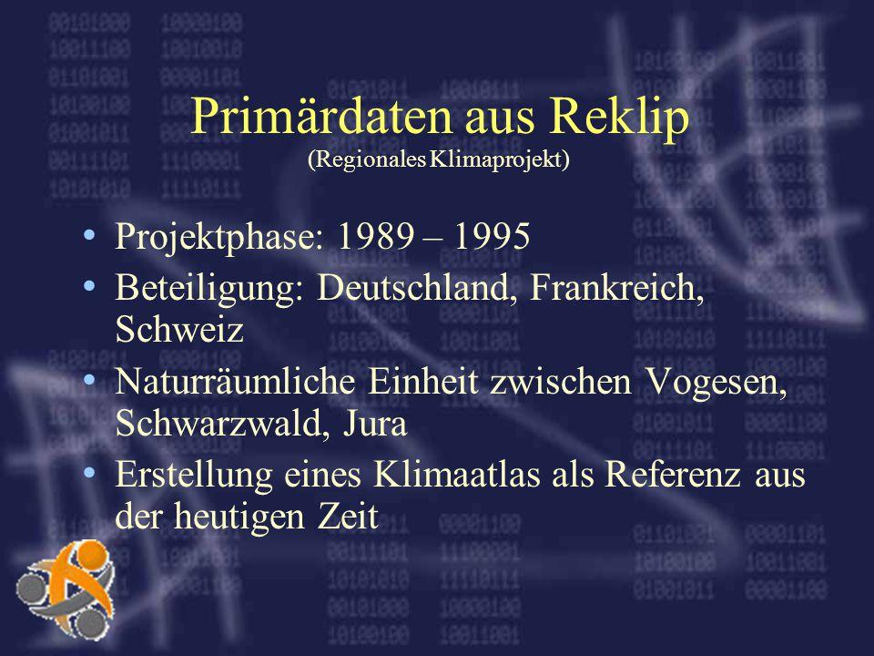Primärdaten aus Reklip (Regionales Klimaprojekt) Projektphase: 1989 – 1995 Beteiligung: Deutschland, Frankreich, Schweiz Naturräumliche Einheit zwischen Vogesen, Schwarzwald, Jura Erstellung eines Klimaatlas als Referenz aus der heutigen Zeit