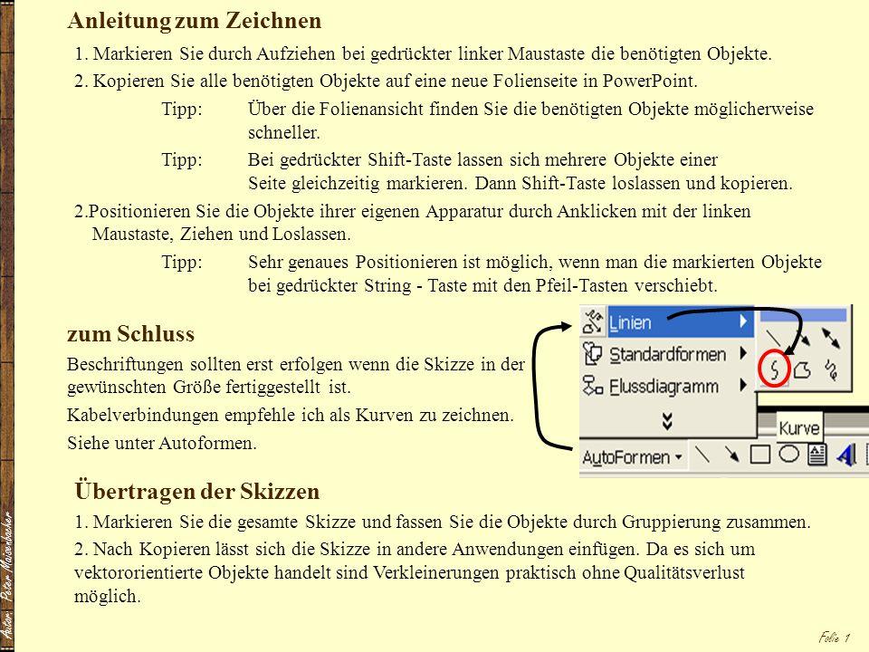 Autor: Peter Maisenbacher Folie 1 Anleitung zum Zeichnen 1. Markieren Sie durch Aufziehen bei gedrückter linker Maustaste die benötigten Objekte. 2. K