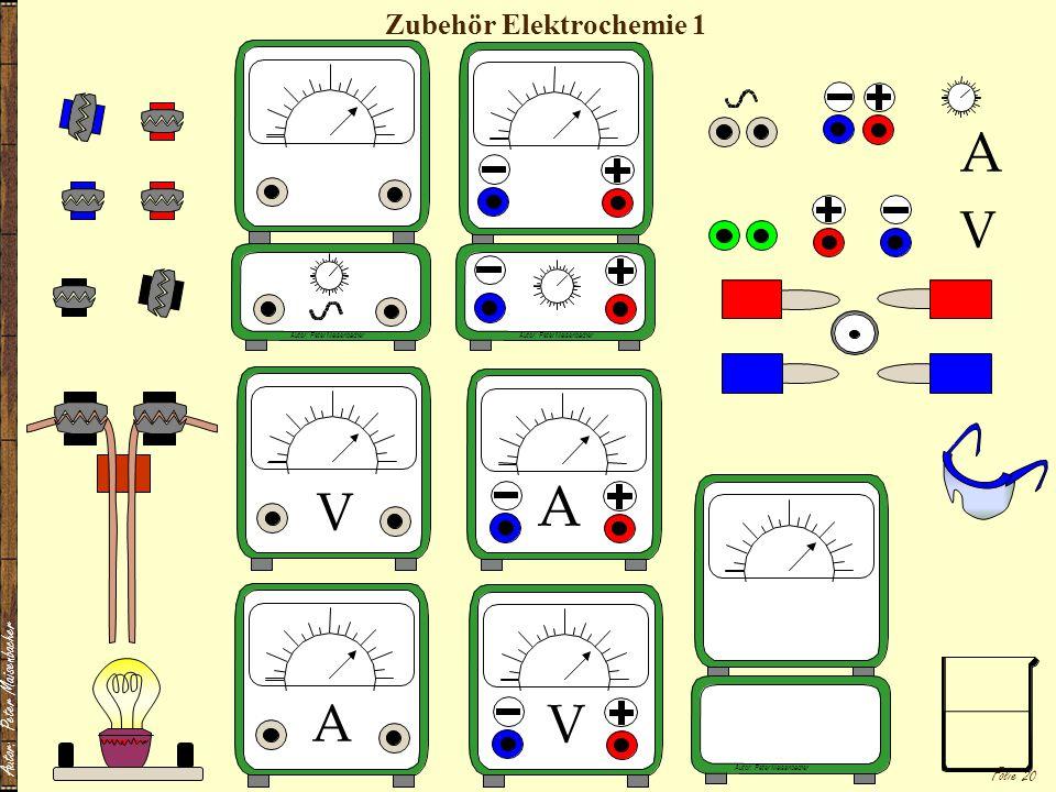 Autor: Peter Maisenbacher Folie 20 Zubehör Elektrochemie 1 A V A V V A Autor: Peter Maisenbacher