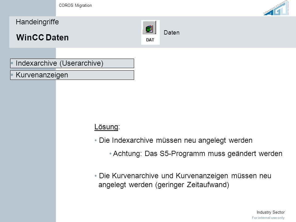 For internal use only Industry Sector COROS Migration WinCC Daten Handeingriffe Daten DAT  Kurvenanzeigen  Indexarchive (Userarchive) Lösung Lösung: