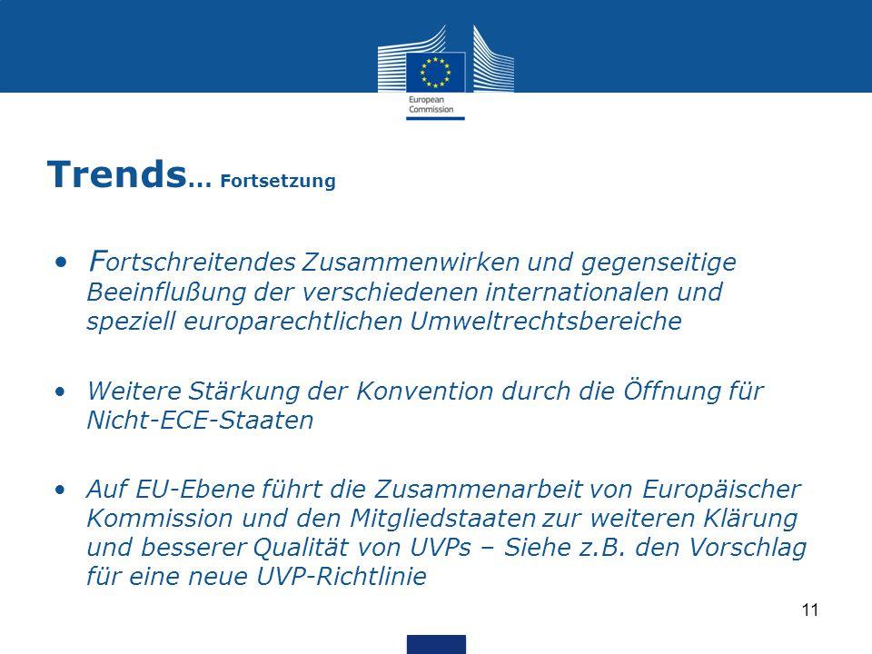 Trends … Fortsetzung F ortschreitendes Zusammenwirken und gegenseitige Beeinflußung der verschiedenen internationalen und speziell europarechtlichen U