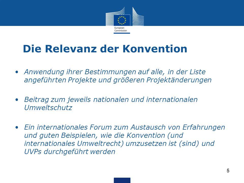 Die Relevanz der Konvention Anwendung ihrer Bestimmungen auf alle, in der Liste angeführten Projekte und größeren Projektänderungen Beitrag zum jeweil
