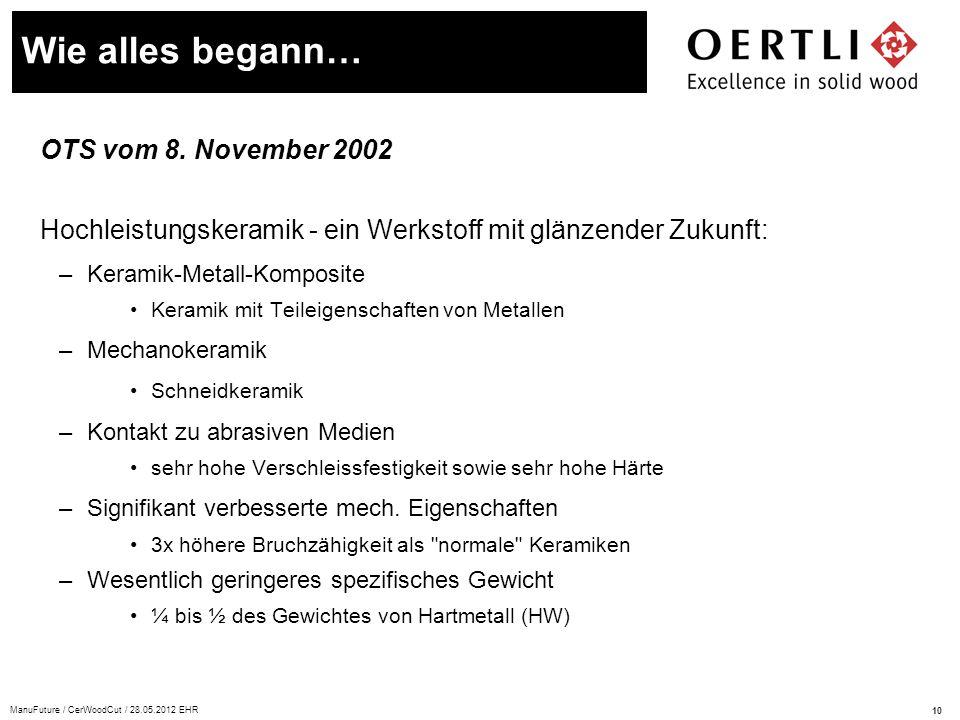 10 ManuFuture / CerWoodCut / 28.05.2012 EHR OTS vom 8. November 2002 Hochleistungskeramik - ein Werkstoff mit glänzender Zukunft: –Keramik-Metall-Komp