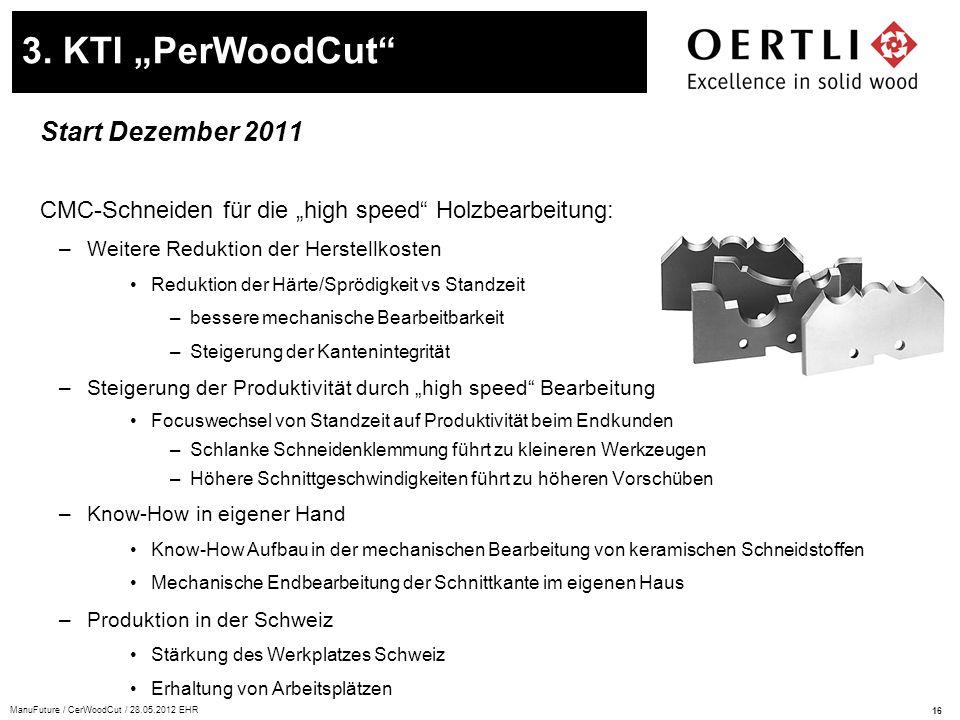 """16 ManuFuture / CerWoodCut / 28.05.2012 EHR Start Dezember 2011 CMC-Schneiden für die """"high speed"""" Holzbearbeitung: –Weitere Reduktion der Herstellkos"""