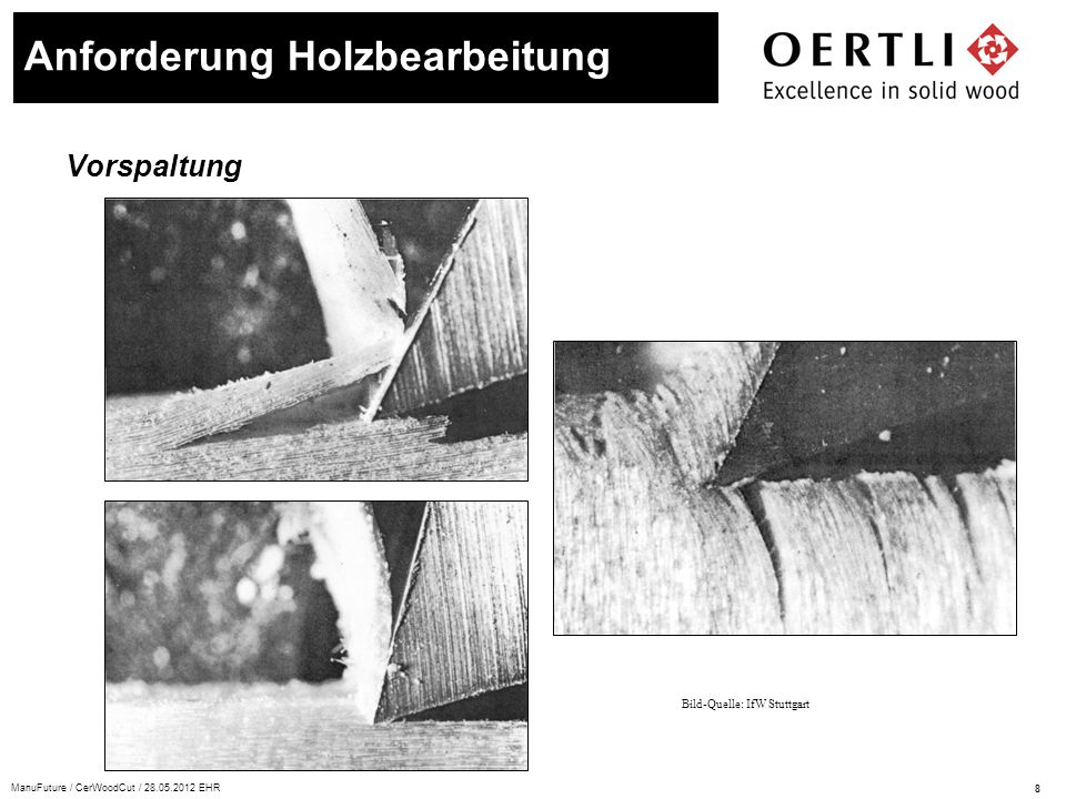 9 ManuFuture / CerWoodCut / 28.05.2012 EHR Schnittkante Anforderung Holzbearbeitung Bild-Quelle: empa Anforderung an die Schneide: Korngrössen < 1 μm: –Kantenverrundung < 5 μm der scharfen Schnittkante –Keilwinkel von 40 bis 60° Hohe Härte und Festigkeit: –Querwuchs, Verästelungen und Sandeinschlüsse –Leimfugen, Kunstharzbeschichtungen –hohe Schnittgeschwindigkeiten von bis zu 100 m/s –lange Standzeiten Thermische und chemische Resistenz: –bis zu 800°C an der Schnittkante –keine Kühlung möglich –chemische Reaktionen mit Gerbsäuren Kantenverrundung: Schneidkeil ≈ 3.5 μm Schichtdicke ≈ 2.5 μm Schneidkeil mit Beschichtung ≈ 6.7 μm Die Holzfaser müssen sauber durch- trennt werden und dürfen nicht gequetscht werden.