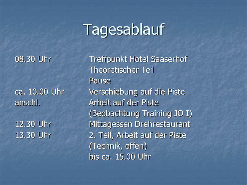 Tagesablauf 08.30 Uhr Treffpunkt Hotel Saaserhof Theoretischer Teil Pause ca. 10.00 Uhr Verschiebung auf die Piste anschl. Arbeit auf der Piste (Beoba