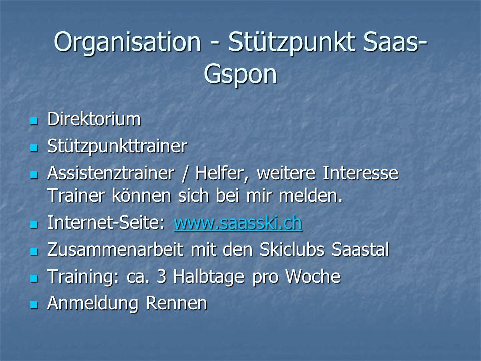 Organisation - Stützpunkt Saas- Gspon Direktorium Direktorium Stützpunkttrainer Stützpunkttrainer Assistenztrainer / Helfer, weitere Interesse Trainer