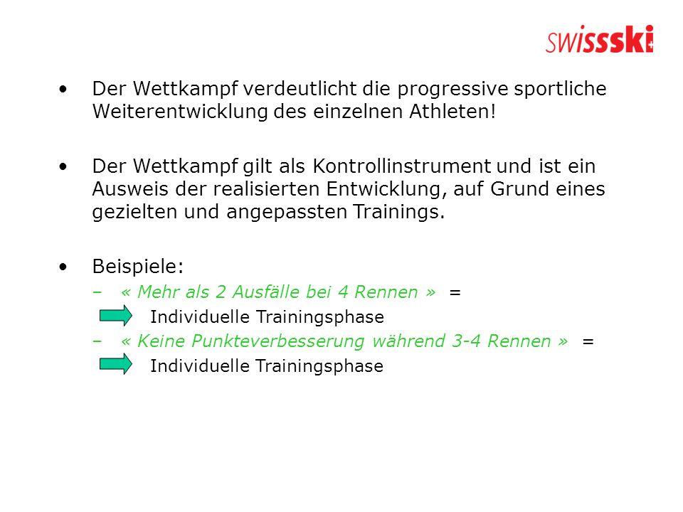 Der Wettkampf verdeutlicht die progressive sportliche Weiterentwicklung des einzelnen Athleten.