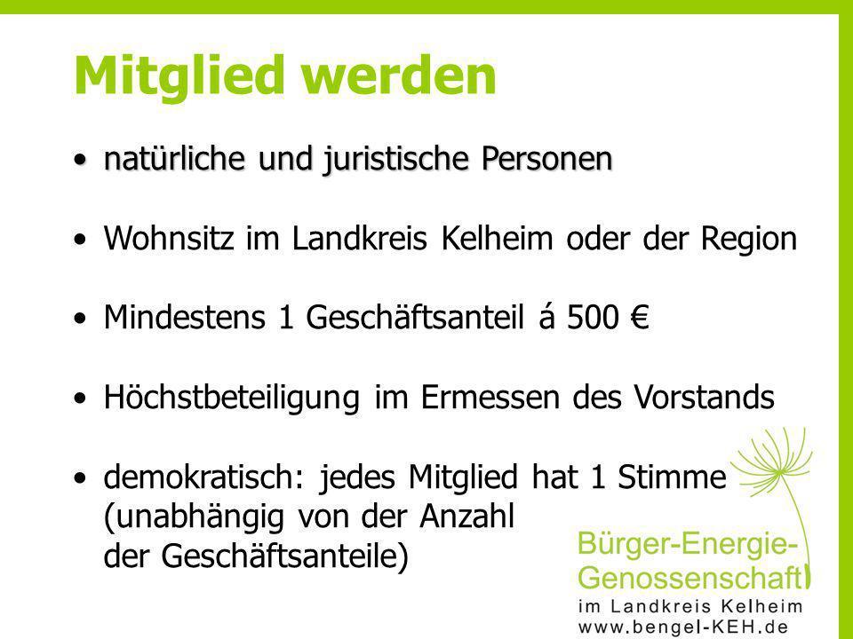natürliche und juristische Personennatürliche und juristische Personen Wohnsitz im Landkreis Kelheim oder der Region Mindestens 1 Geschäftsanteil á 50