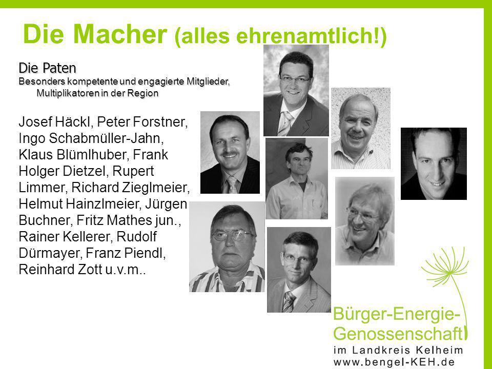 Die Paten Besonders kompetente und engagierte Mitglieder, Multiplikatoren in der Region Josef Häckl, Peter Forstner, Ingo Schabmüller-Jahn, Klaus Blüm