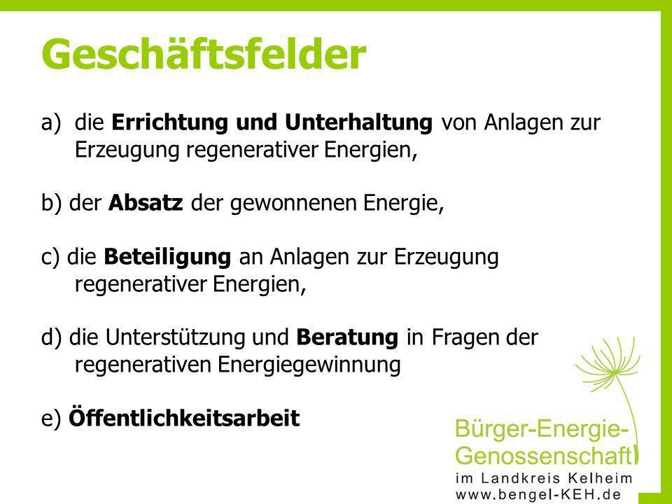 a)die Errichtung und Unterhaltung von Anlagen zur Erzeugung regenerativer Energien, b) der Absatz der gewonnenen Energie, c) die Beteiligung an Anlage
