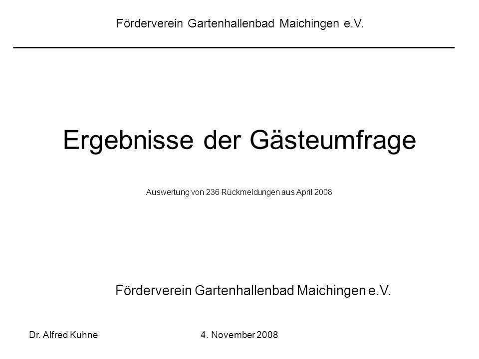 Dr. Alfred Kuhne4. November 2008 Ergebnisse der Gästeumfrage Auswertung von 236 Rückmeldungen aus April 2008 Förderverein Gartenhallenbad Maichingen e