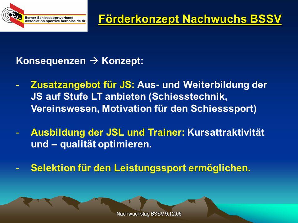 Nachwuchstag BSSV 9.12.06 Förderkonzept Nachwuchs BSSV Konsequenzen  Konzept: -Zusatzangebot für JS: Aus- und Weiterbildung der JS auf Stufe LT anbie