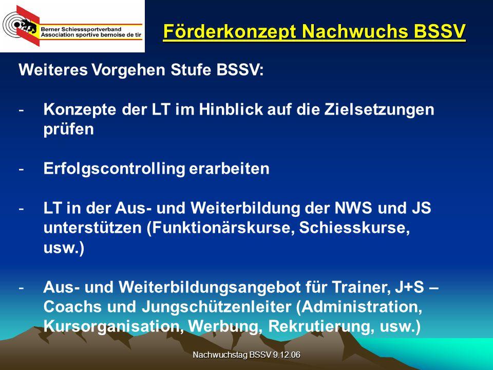 Nachwuchstag BSSV 9.12.06 Förderkonzept Nachwuchs BSSV Weiteres Vorgehen Stufe BSSV: -Konzepte der LT im Hinblick auf die Zielsetzungen prüfen -Erfolgscontrolling erarbeiten -LT in der Aus- und Weiterbildung der NWS und JS unterstützen (Funktionärskurse, Schiesskurse, usw.) -Aus- und Weiterbildungsangebot für Trainer, J+S – Coachs und Jungschützenleiter (Administration, Kursorganisation, Werbung, Rekrutierung, usw.)