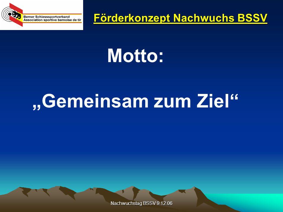 """Nachwuchstag BSSV 9.12.06 Förderkonzept Nachwuchs BSSV Motto: """"Gemeinsam zum Ziel"""