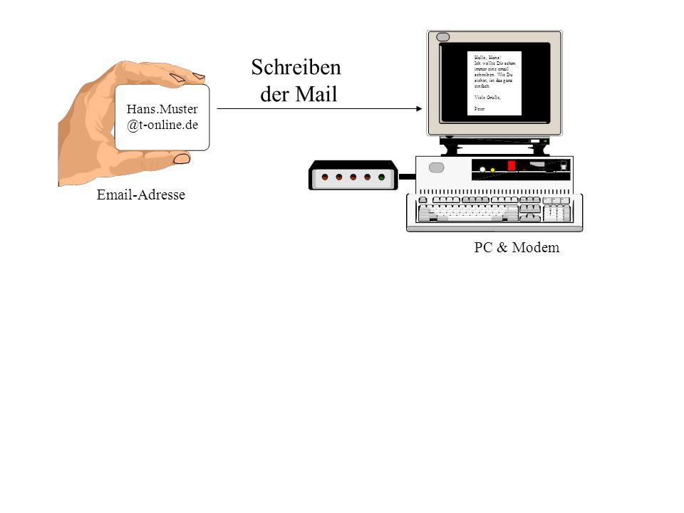 Hans.Muster @t-online.de Email-Adresse Hallo, Hans! Ich wollte Dir schon immer eine email schreiben. Wie Du siehst, ist das ganz einfach. Viele Grüße,