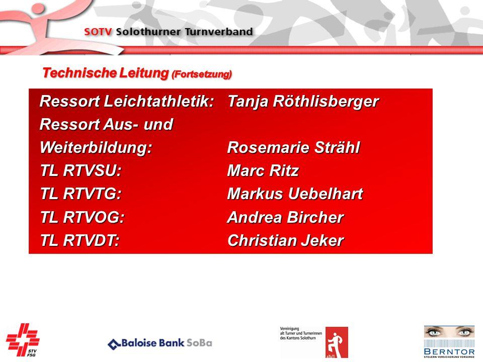 Ressort Leichtathletik:Tanja Röthlisberger Ressort Aus- und Weiterbildung:Rosemarie Strähl TL RTVSU:Marc Ritz TL RTVTG:Markus Uebelhart TL RTVOG:Andre