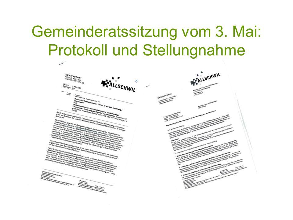 Gemeinderatssitzung vom 3. Mai: Protokoll und Stellungnahme