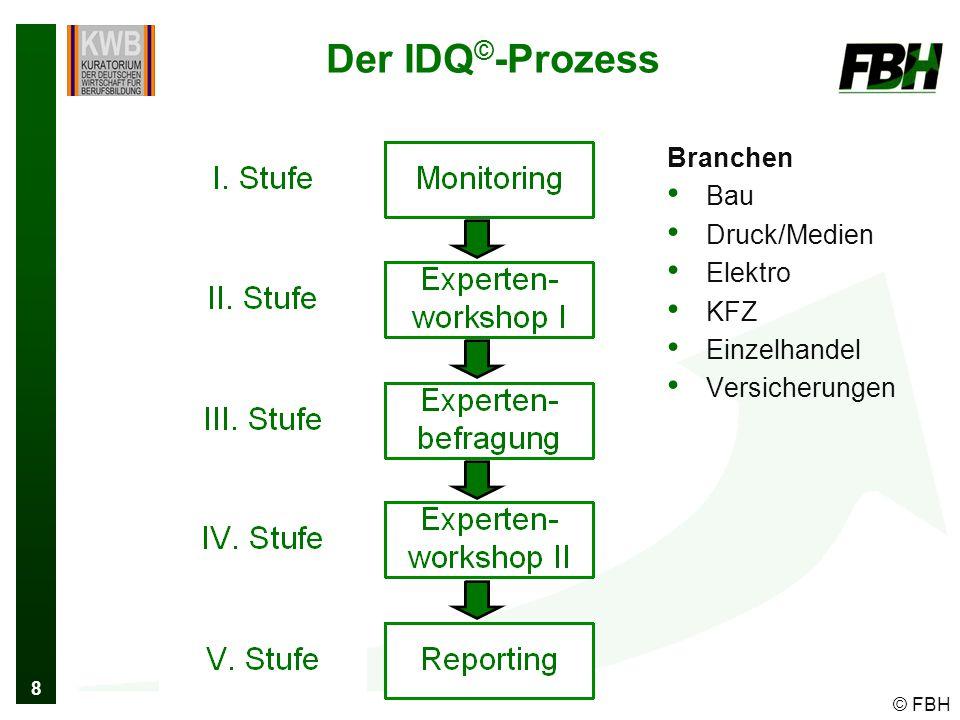 8 Der IDQ © -Prozess Branchen Bau Druck/Medien Elektro KFZ Einzelhandel Versicherungen