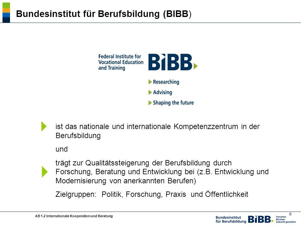 ® Bundesinstitut für Berufsbildung (BIBB) ist das nationale und internationale Kompetenzzentrum in der Berufsbildung und trägt zur Qualitätssteigerung