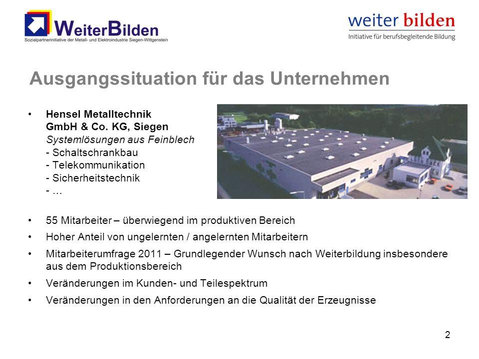 Ausgangssituation für das Unternehmen Hensel Metalltechnik GmbH & Co. KG, Siegen Systemlösungen aus Feinblech - Schaltschrankbau - Telekommunikation -