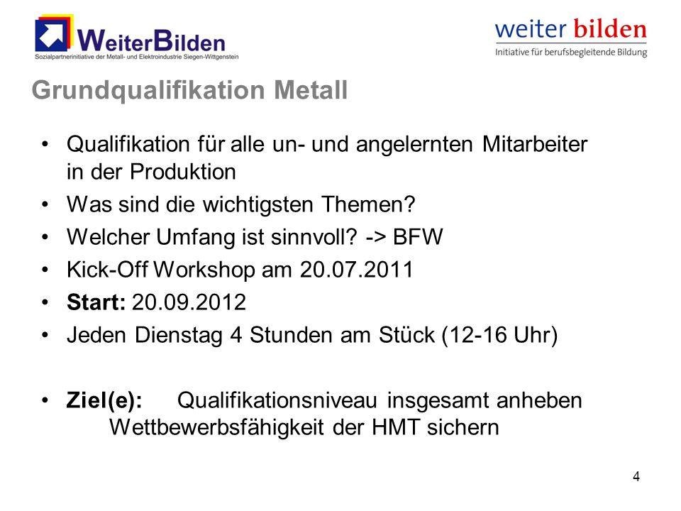 4 Grundqualifikation Metall Qualifikation für alle un- und angelernten Mitarbeiter in der Produktion Was sind die wichtigsten Themen? Welcher Umfang i