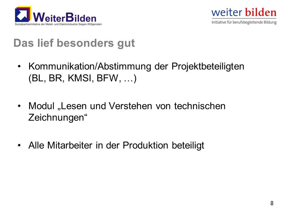 """Kommunikation/Abstimmung der Projektbeteiligten (BL, BR, KMSI, BFW, …) Modul """"Lesen und Verstehen von technischen Zeichnungen Alle Mitarbeiter in der Produktion beteiligt 8 Das lief besonders gut"""