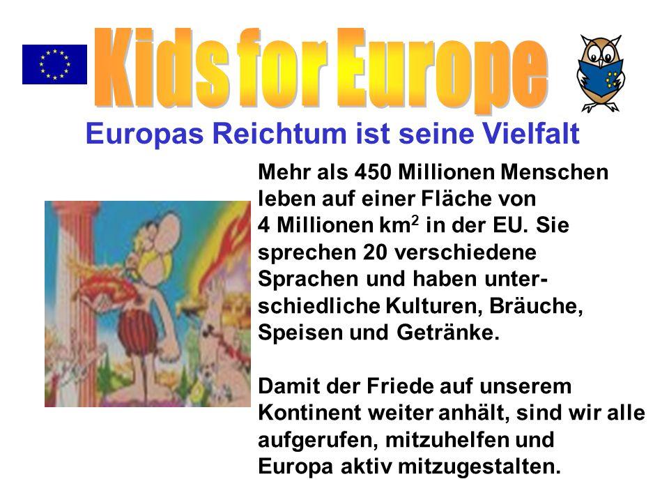 Mehr als 450 Millionen Menschen leben auf einer Fläche von 4 Millionen km 2 in der EU. Sie sprechen 20 verschiedene Sprachen und haben unter- schiedli
