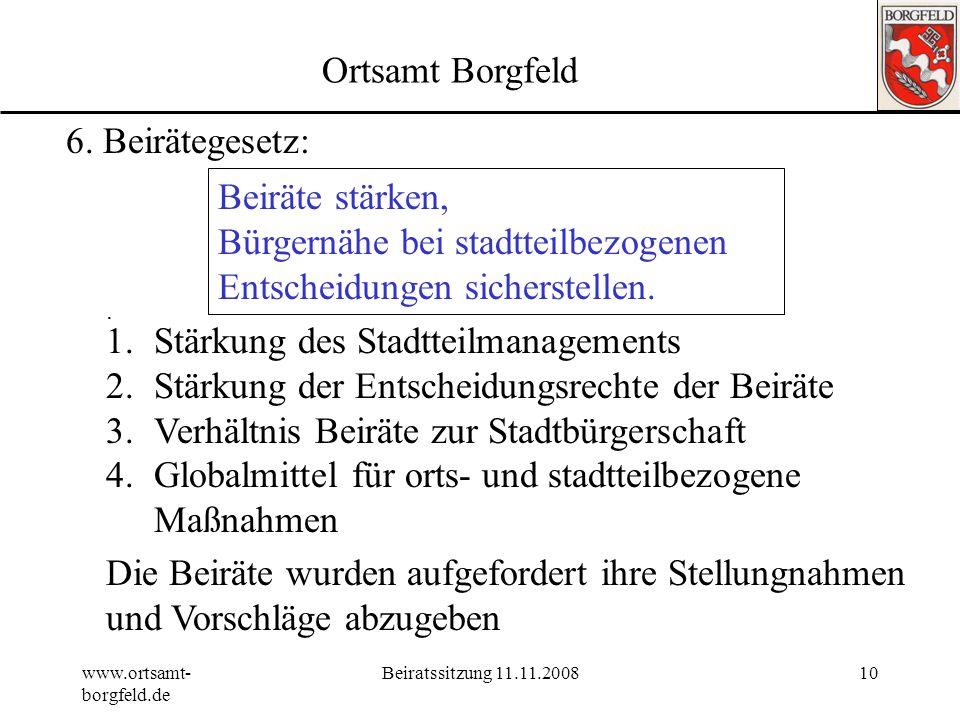 www.ortsamt- borgfeld.de Beiratssitzung 11.11.20089 Tagesordnung 1.Genehmigung der Tagesordnung19:30 2.Genehmigung Protokoll vom 01.09.2008 3.Wünsche