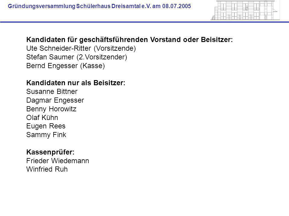 Gründungsversammlung Schülerhaus Dreisamtal e.V. am 08.07.2005 Kandidaten für geschäftsführenden Vorstand oder Beisitzer: Ute Schneider-Ritter (Vorsit