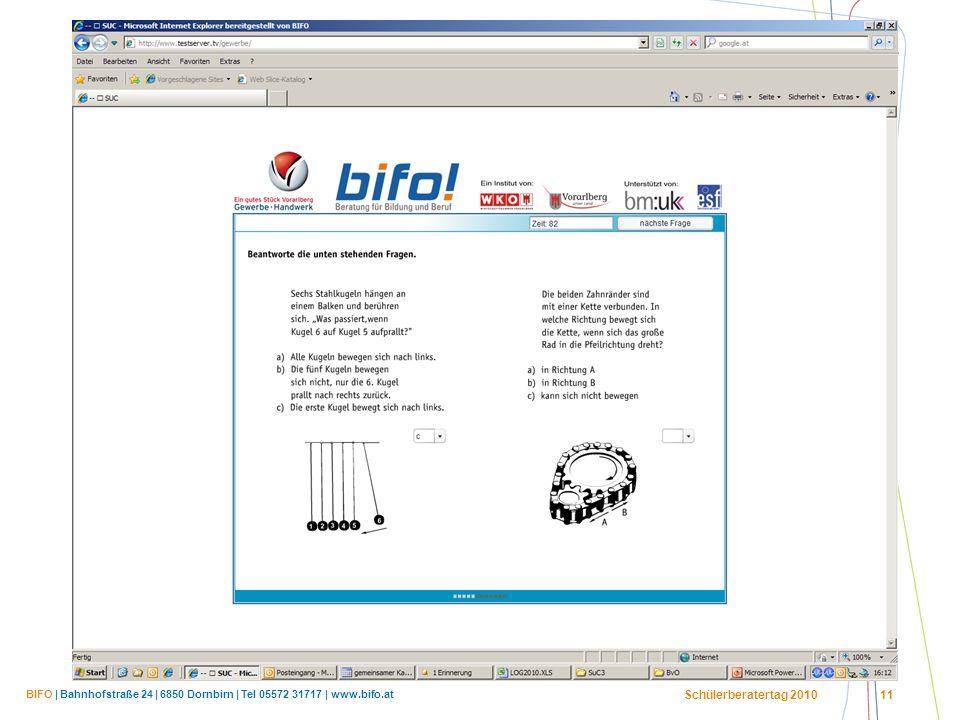 BIFO | Bahnhofstraße 24 | 6850 Dornbirn | Tel 05572 31717 | www.bifo.at Schülerberatertag 2010 11