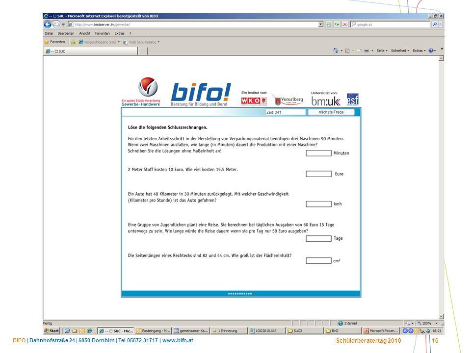 BIFO | Bahnhofstraße 24 | 6850 Dornbirn | Tel 05572 31717 | www.bifo.at Schülerberatertag 2010 16