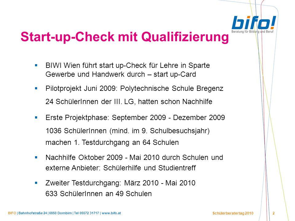 BIFO | Bahnhofstraße 24 | 6850 Dornbirn | Tel 05572 31717 | www.bifo.at Schülerberatertag 2010 2 Start-up-Check mit Qualifizierung  BIWI Wien führt s
