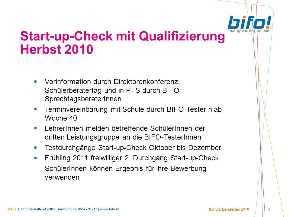 BIFO | Bahnhofstraße 24 | 6850 Dornbirn | Tel 05572 31717 | www.bifo.at Schülerberatertag 2010 4 Start-up-Check mit Qualifizierung Herbst 2010  Vorin