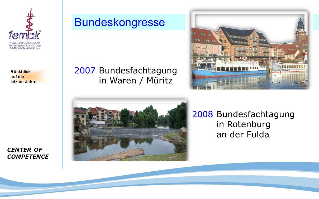 CENTER OF COMPETENCE Bundeskongresse 2007 Bundesfachtagung in Waren / Müritz 2008 Bundesfachtagung in Rotenburg an der Fulda Rückblick auf die letzten