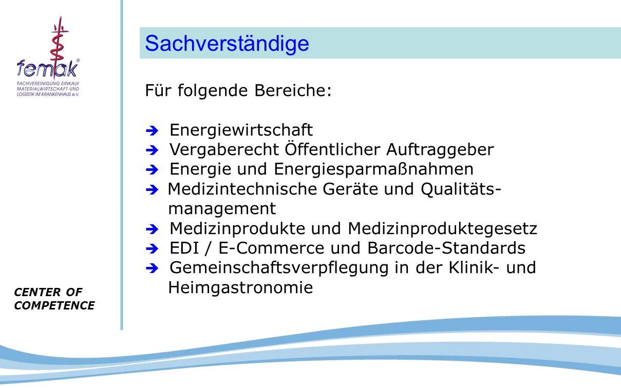 CENTER OF COMPETENCE Sachverständige Für folgende Bereiche:  Energiewirtschaft  Vergaberecht Öffentlicher Auftraggeber  Energie und Energiesparmaßn