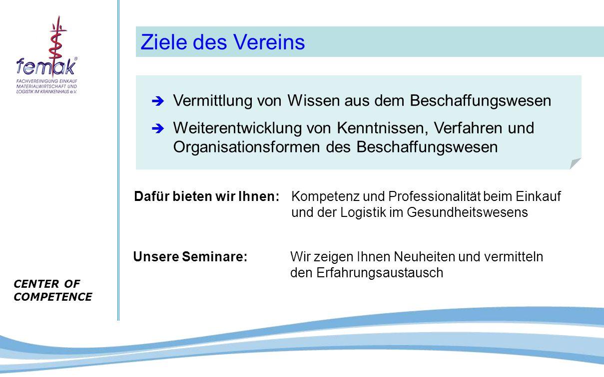 CENTER OF COMPETENCE Ziele des Vereins  Vermittlung von Wissen aus dem Beschaffungswesen  Weiterentwicklung von Kenntnissen, Verfahren und Organisat